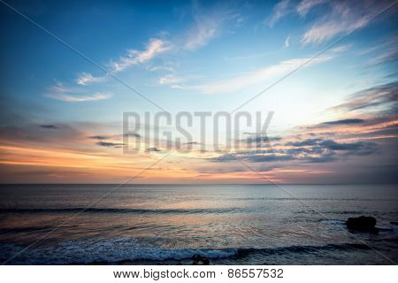 Sea coast during sunset, nature, wildlife, summer.