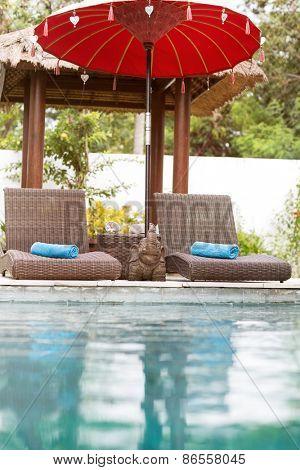 tropical resort near swimming pool