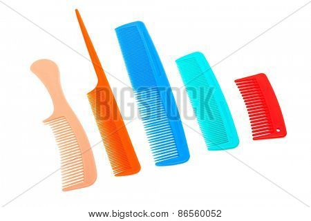 set of plastic comb on a white background