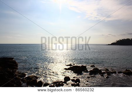 Rocky shore of the Indian ocean, Mirissa