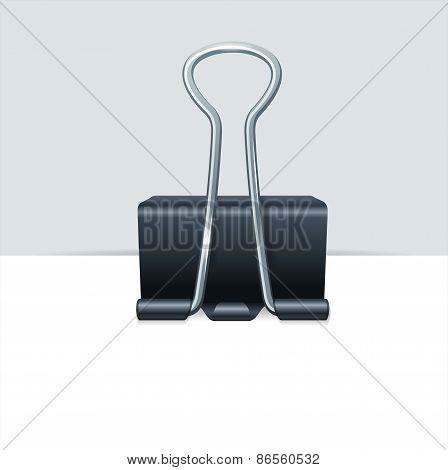 Vector metal binder clip with paper