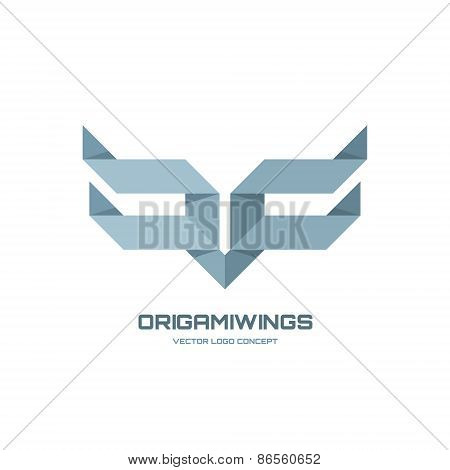 Origamiwings - vector logo concept illustration. Abstract geometric wings logo. Origami logo.