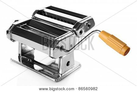 Metal pasta maker machine isolated on white