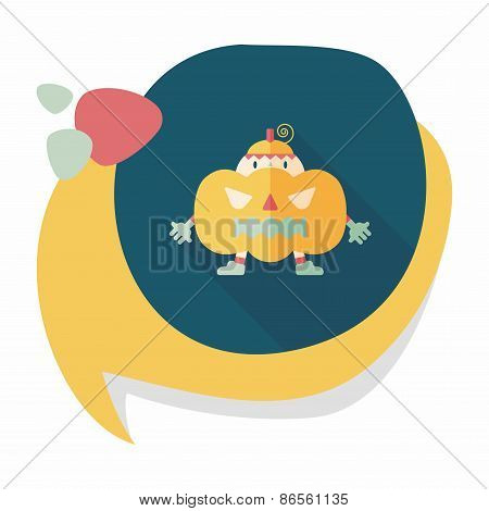 Pumpkin Costume Flat Icon With Long Shadow,eps10