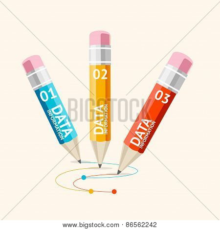 Vector business infographics with pencils