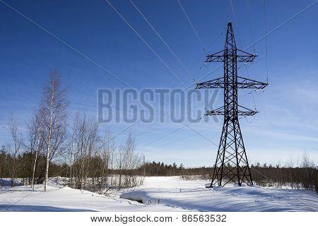 Transmission Tower .winter Landscape.