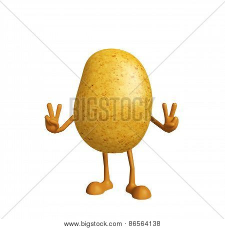 Potato Character With Win Pose