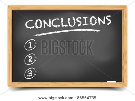 detailed illustration of a blackboard with an empty conclusions list, eps10 vector, gradient mesh included