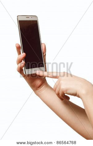 Female hand holding a mobile phone