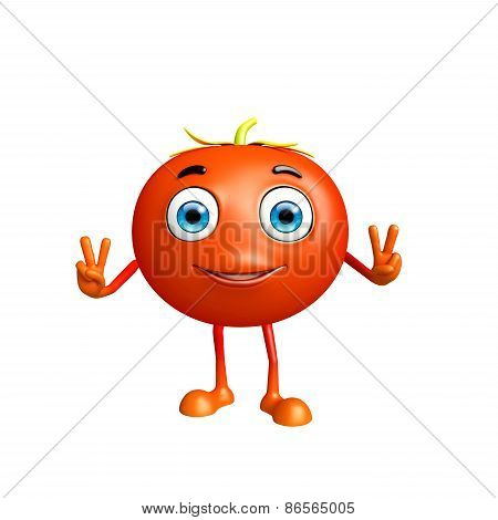 Tomato Character With Win Pose