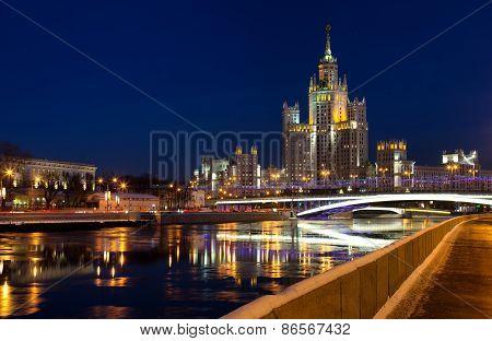 High-rise Building On Kotelnicheskaya Embankment In Night Illum