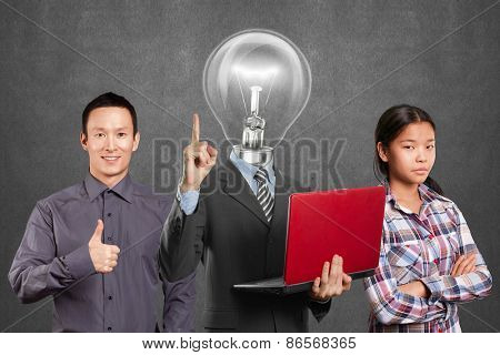 Team and Lamp head man with laptop and business team