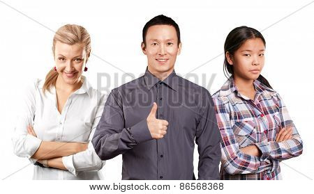 Team and Business team, woman with folded hands and man with pointing finger
