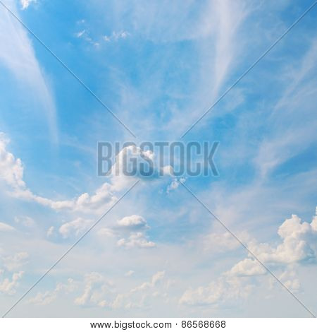 Blue Sky And White Cumulus Clouds