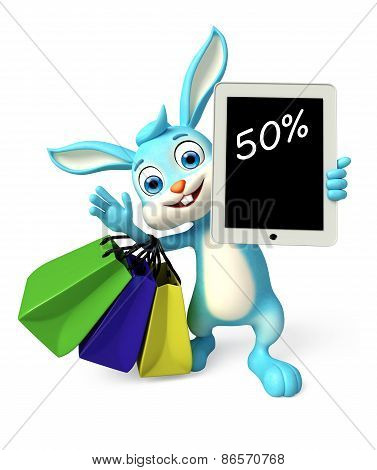 Easter Bunny With Shopping Bag And Discount Sign