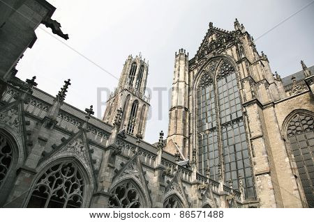 Dom Church And Tower In The Dutch Town Of Utrecht
