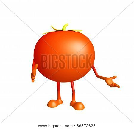 Tomato Character With, Shakehand Pose