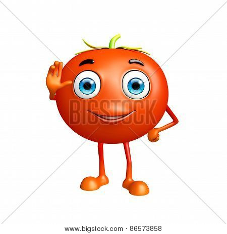 Tomato Character With Saying Hi Pose