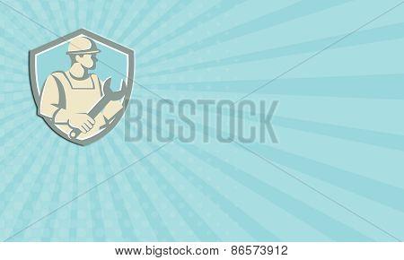 Business Card Construction Worker Spanner Shield Cartoon