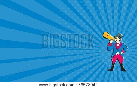Business Card Circus Ringmaster Bullhorn Standing Cartoon