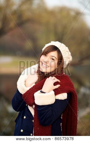 Beautiful Girl In Winter Clothes Smiling