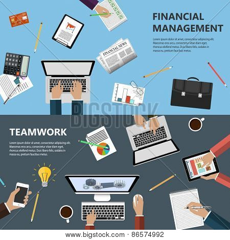 Modern flat design financial management and teamwork concept  for e-business, web sites, mobile applications, banners, corporate brochures, book covers, layouts etc. Vector eps10 illustration