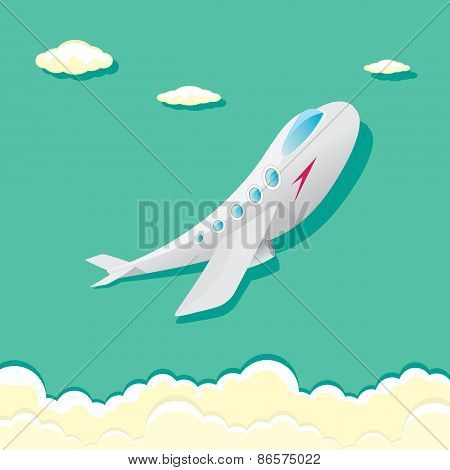 vector airplane icon. cartoon plane in blue sky