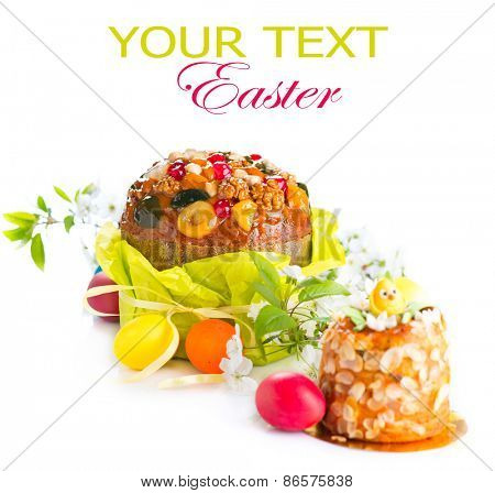 Easter Cake and colorful painted Eggs. Traditional Easter holiday food isolated on a white background. With copy space for your text
