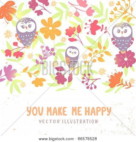 owls and flowers background