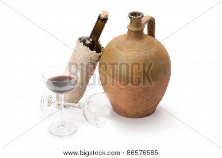 Stemware, Bottle Of Wine And Old Amphora