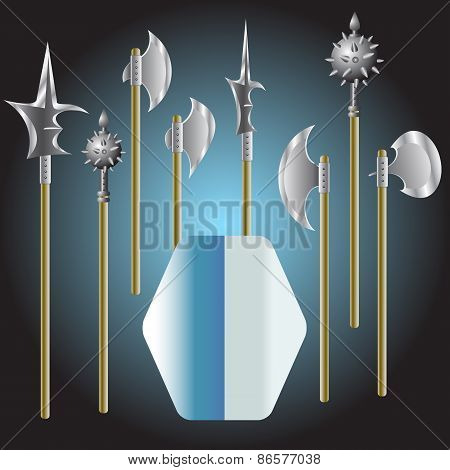 Illustration Of Medieval Weapons And Shield - Vector