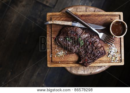 Beef Steak. Piece Of Grilled Bbq Beef Marinated In Spices - Stock Image