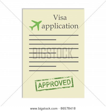 Visa application with approved stamp
