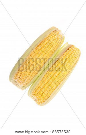 Sweetcorns On White Background