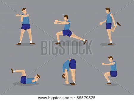Male Sports Athlete In Blue Stretching And Warming Up