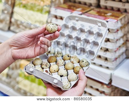 In Hands Chooses Packing Quail Eggs In Supermarket