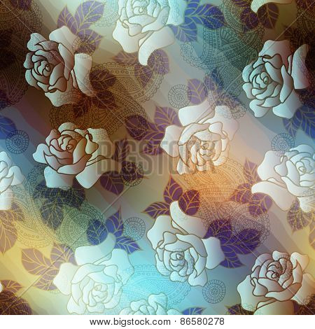 Roses and paisley on blurred background.