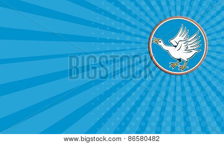Business Card Angry Swan Attacking Circle Retro
