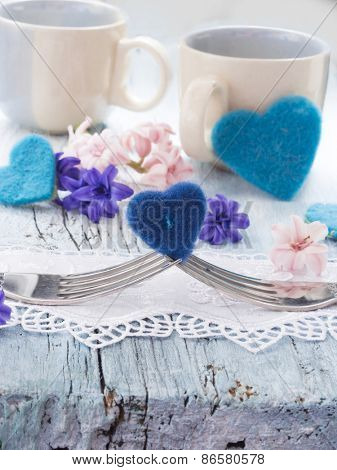 love concept, two forks with heart symbol