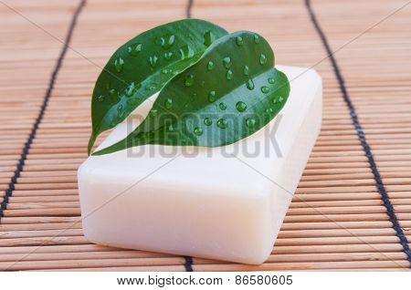 Natural soap with leaves on the table