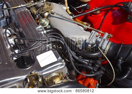 Restored engine of an old car