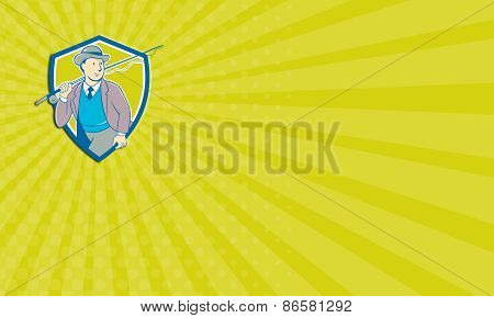 Business Card Vintage Fly Fisherman Bowler Hat Shield Cartoon
