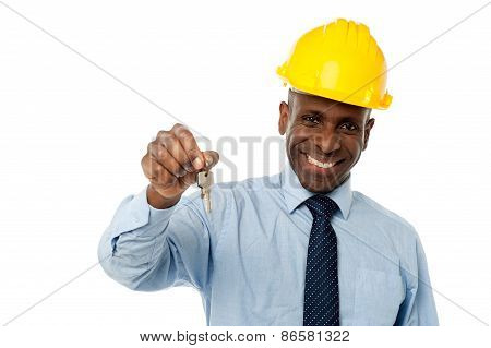 African American Businessman Holding A Key