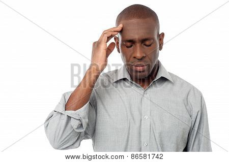Middle Aged Man Having Headache.