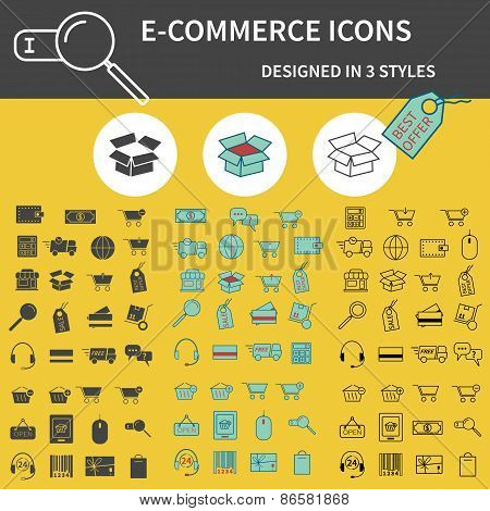 Set of Outline,  Silhouette and 3 colors On-Line Shopping icons isolated on yellow background. Cute