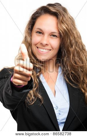 Beautiful businesswoman thumbs up isolated on white