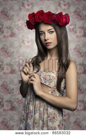 Lovely Girl With Roses On Head