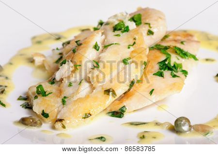 steamed zander fresh water fish fillet with fresh herbs
