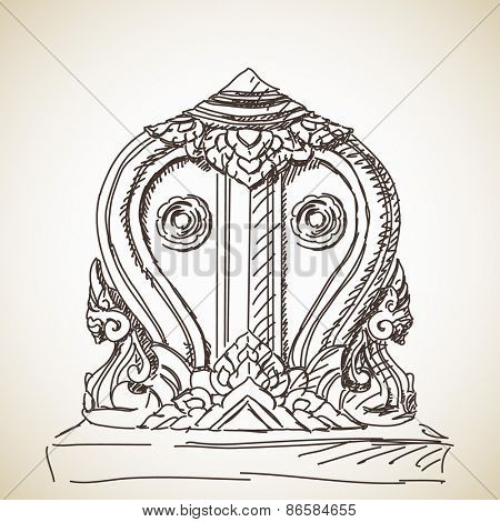 Sketch of symbol of Buddhism, Hand drawn Vector illustration