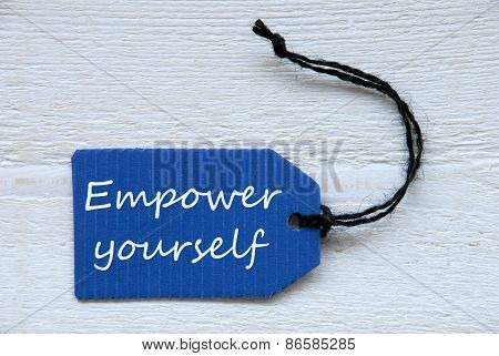 Blue Label With English Text Empower Yourself